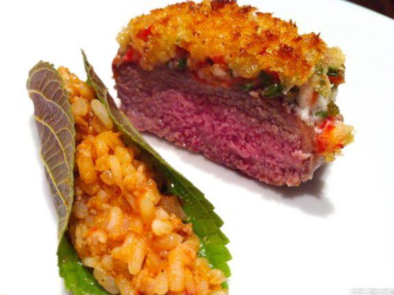 Lamm mit Reis im Sesamblatt