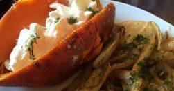 Karamellisierter Fenchel mit Süßkartoffel und Ziegenkäse