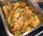 Haehnchen, Fruehlingszwiebeln und Kartoffeln